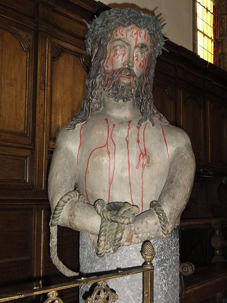 Cousolre (Nord, Fr) église, statue Christ aux liens