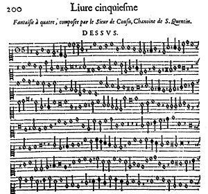 Antoine de Cousu - Beginning of the Fantaisie en faveur de la quarte by Antoine de Cousu, in Marin Mersenne, Harmonie universelle (Paris, 1636).