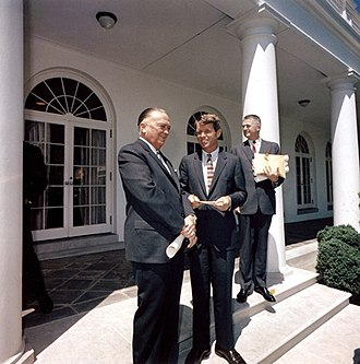 Archibald Cox - FBI Director J. Edgar Hoover, Attorney General Robert F. Kennedy and Solicitor General Archibald Cox in Rose Garden on May 7, 1963.