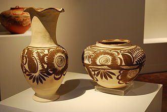 Mexican ceramics - Contemporary pottery by Nicolas Vita Hernandez of Chililco, Huejutla de Reyes, in the State of Hidalgo, Mexico, at a temporary exhibit on Hidalgo crafts at the Museo de Arte Popular, Mexico City.