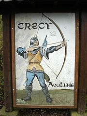 Crecy village sign