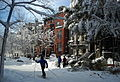 Cross-country skiing on Q Street, N.W..JPG