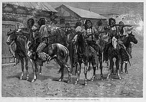 """Crow War - """"Crow Indians Firing Into The Agency"""" by Frederic Remington."""