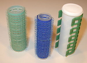Hair roller - Three hair rollers of different diameters.