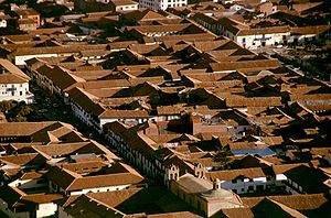 Cusco - View of the city from Saksaywaman. Roofs of Colonial architecture.