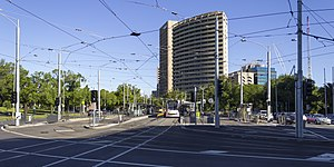 D1 3507 (Melbourne tram) at Domain Interchange, 2013.JPG