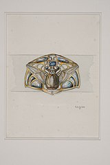 "Design drawing for a Belt Ornament ""Winged Scarab"""