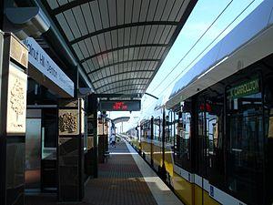 Walnut Hill/Denton station - Green Line train departing from Walnut Hill/Denton Station.