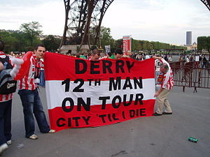 12th man (football) - Derry City's twelfth man in Paris, France.
