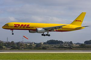 DHL (European Air Transport Leipzig - EAT) Boeing 757 Zammit.jpg