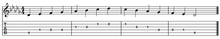 D flat major scale one octave (open position).png