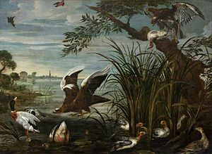 David de Coninck - River Scene with Ducks and Geese Being Attacked by Hawks