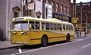 Trolleybuses in Dayton - City Transit Company Pullman trolley bus 444 in downtown Dayton in 1968