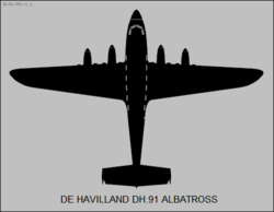 De Havilland DH.91 Albatross top-view silhouette.png