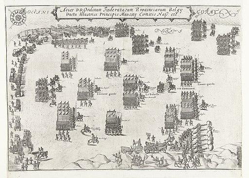 De Staatse en Spaanse legers staan tegenover elkaar op het strand bij Nieuwpoort (linkerblad), 1600, RP-P-OB-80.539A