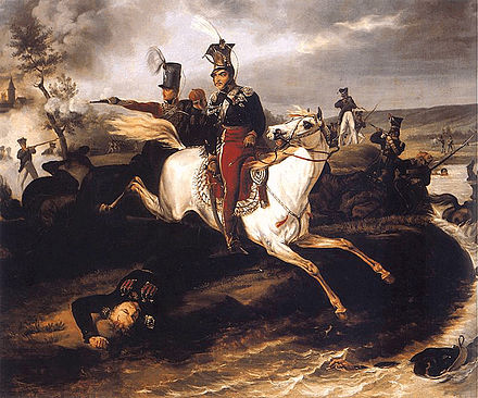Death of Poniatowski. Painting by January Suchodolski Death of Poniatowski.jpg