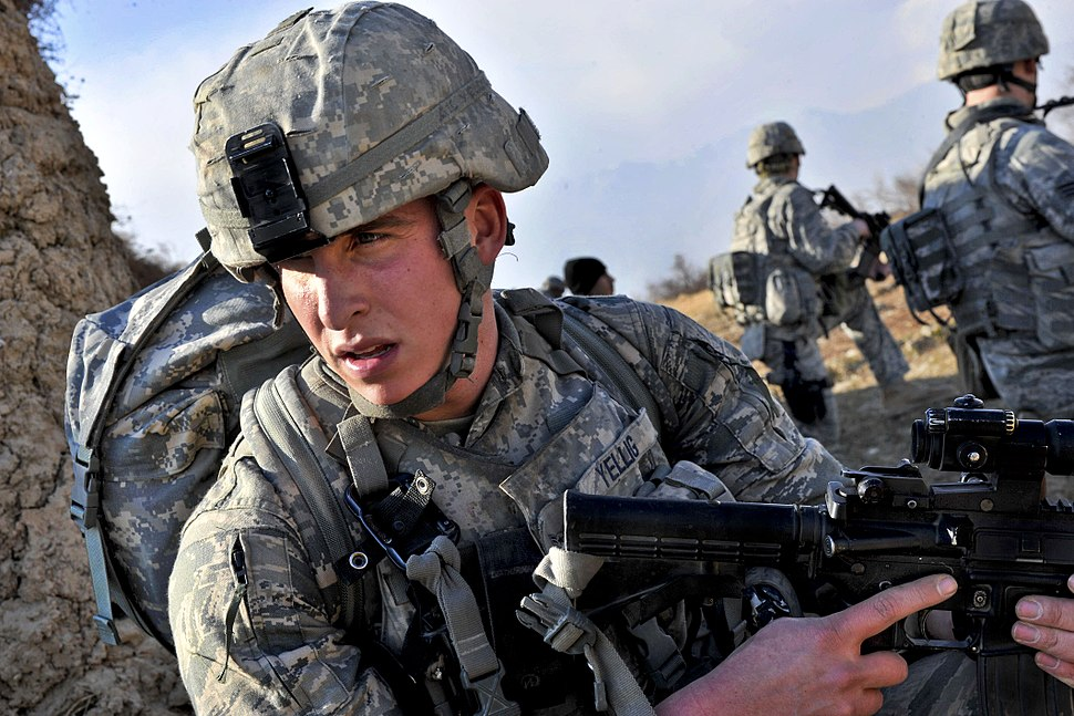 Defense.gov News Photo 110501-F-XXXXX-214 - U.S. Air Force airmen survey the area during a routine patrol outside Bagram Airfield Afghanistan on May 1 2011. The airmen are assigned to the