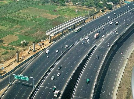 A dual carriageway section of National Highway 8 connecting Delhi to Gurgaon DelhiFlyover EDITED.jpg