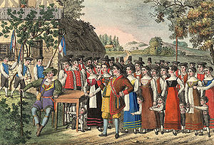 Der Freischütz - An 1822 illustration of Der Freischütz depicting the opening scene with Max and Kilian