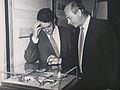 Des O'Malley T.D. and Pat Whelan, architect, examine model of Phase 1 complex NIHE Limerick (9304848259).jpg