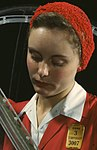 Detail, Woman worker in the Douglas Aircraft Company plant 1942 (cropped).jpg