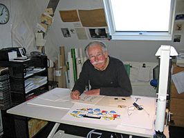 Dick Bruna in zijn atelier (2007).