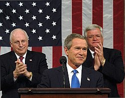 President George W. Bush's 2003 State of the Union address.  Over the President's right shoulder is Cheney; over his left is Dennis Hastert.
