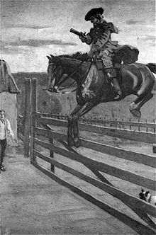A monochrome illustration of a man on horseback, jumping a wooden gate. He is wearing a wide-brimmed hat, coat, trousers, and long boots. His left hand holds the reins, in his right hand is a pistol. A man stands in the near distance, in front of a toll booth, with a shocked expression on his face. Obscured by the gate, a small dog watches proceedings.