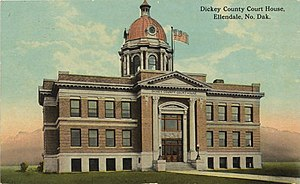 Postcard. Dickey County Courthouse in 1915.