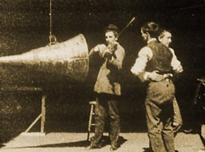Sound film - Image from The Dickson Experimental Sound Film (1894 or 1895), produced by W.K.L. Dickson as a test of the early version of the Edison Kinetophone, combining the Kinetoscope and phonograph.