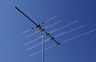 UHF television broadcasting - This modern DTV antenna uses a Yagi for UHF reception placed in front of a log-periodic for VHF-high. Although the UHF band has five times as many channels as VHF, the antenna needed to receive them is much smaller in both length and width. An older design that also received VHF-low would have many more elements extending to the right.