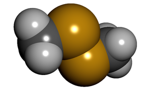 Dimethyl disulfide - Image: Dimethyl disulfide spacefill