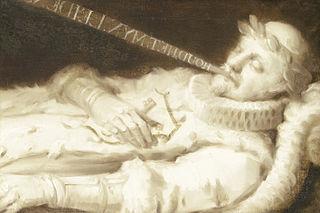 Willem I (1533-84), genaamd de Zwijger, prins van Oranje, op zijn ziekbed