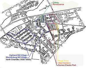 English: map showing the different parts of NoDa