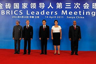Manmohan Singh - (left to right) Prime Minister Manmohan Singh with Dmitry Medvedev, Hu Jintao, Dilma Rousseff and Jacob Zuma at the 3rd 2011 BRICS Summit in Sanya, China.