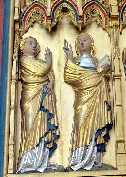 Datei:Doberan Münster - Kreuzaltar Marienseite 1 Verkündigung Maria.jpg