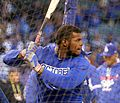 Dodgers outfielder Yasiel Puig takes batting practice before NLCS Game 6. (30388282332).jpg