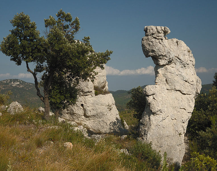 Ruins of rock (dolomite) on a mountain Loube