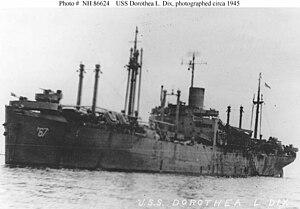 USS Dorothea L. Dix (AP-67) - Dorothea L. Dix (AP-67) at anchor, c. 1945, place unknown.