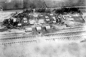 Douglas Municipal Airport (Georgia) - Station, hangars and aircraft ramp, about 1943