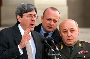 Douglas J. Feith - Douglas Feith and General-Colonel Yuriy Nikolayevich Baluyevskiy hold a joint press conference at the Pentagon on Jan. 16, 2002.