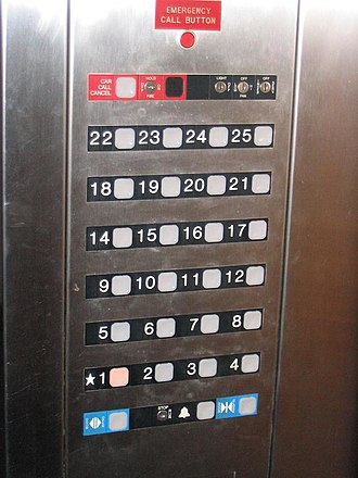 Storey - A Dover Custom Impulse Elevator control panel with floor numbering. In most buildings in the US and Canada, there is no thirteenth floor. The ☆ indicates the main entry floor.