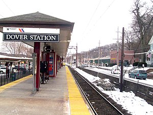 Dover station (NJ Transit) - Dover station from the island platform in the center of the station.