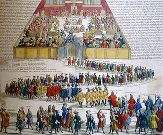 Acts of Union 1707 - 18thC French illustration of an opening of the Scottish Parliament