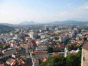 Downtown Ljubljana, Slovenia. Seen from the Lj...