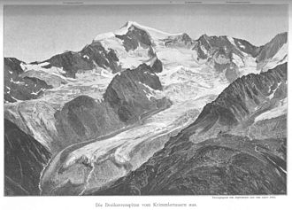High Tauern - The Dreiherrnspitze from the west in the year 1890