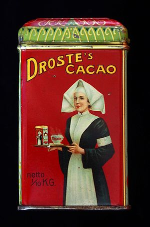 Droste - Droste packaging illustration from around 1900. The image is well known for symbolising the Droste effect, which is named after the company for this reason.