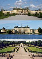 Fasad mot väster, fasad mot öster och barockträdgården.
