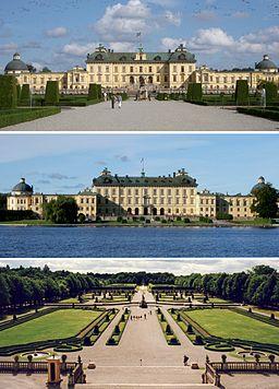 Afhøvlet mod vest, facade mod øst og barokhaven.