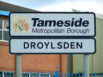 Droylsden - A welcome sign at Droyslden's boundary
